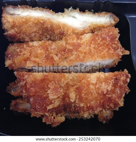 Fried chicken in box - stock photo