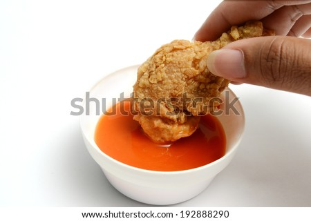 fried chicken in chili sauce  - stock photo