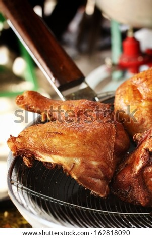 Fried chicken in the kitchen.