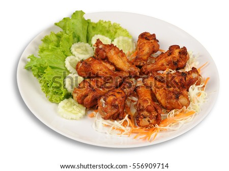 Fried chicken isolated on white background