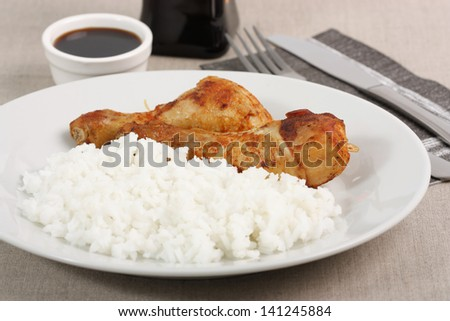 Fried Chicken Leg and Rice - stock photo