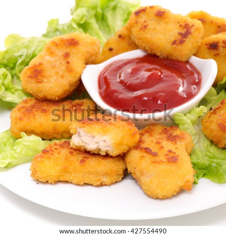 fried chicken nugget and salad