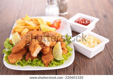 fried chicken, nuggets - stock photo