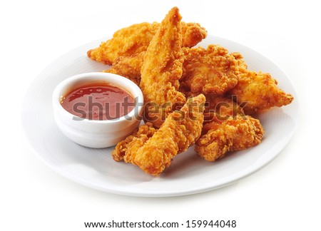 Fried chicken nuggets and sweet chili sauce - stock photo