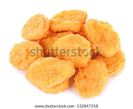 Fried chicken nuggets isolated on white