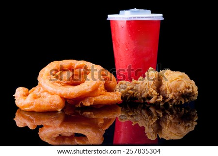Fried Chicken, Onion Ring and soft drink in Fast Food - stock photo