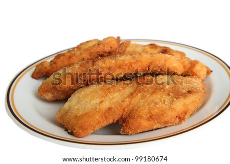 Fried chicken rolled in breadcrumbs on plate and isolated on white. - stock photo