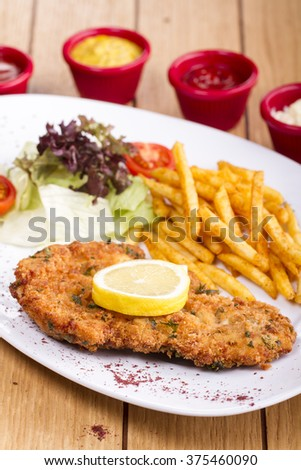Fried chicken schnitzel, boiled potatoes, sauces and vegetable salad - stock photo