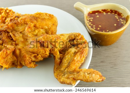 Fried chicken, spicy sauce
