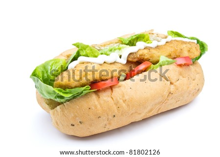 Fried Chicken Sub sandwich from low perspective isolated on white.