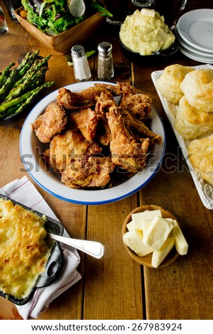 Fried Chicken Sunday Supper - stock photo