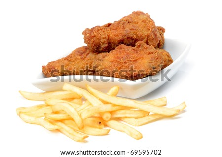 fried chicken wings and fries - stock photo