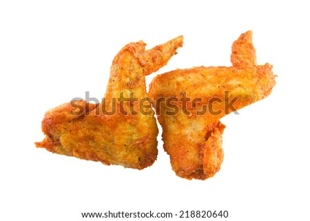 Fried chicken wings duo isolated on white - stock photo