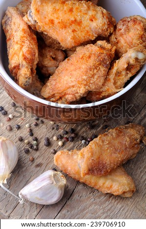 fried chicken wings fried - stock photo