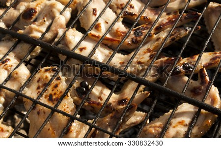 Fried chicken wings on grill bar. Food and ingredients. - stock photo