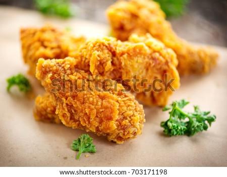 Fried Chicken Wings On Wooden Table Breaded Crispy Fried Kentucky Chicken Tasty Dinner Deep