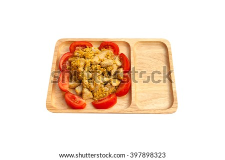 Fried chicken with eggs and tomato isolated on white background