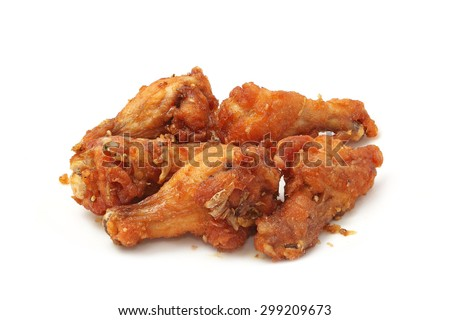 fried chicken with garlic isolated on white