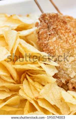 Fried chicken with potato chips