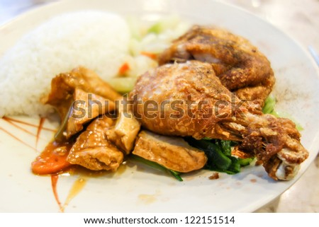 fried chicken with rice and fresh salad