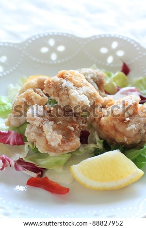fried chicken with salad and lemon