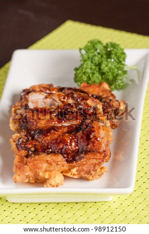fried chicken with sweet sauce aka chicken teriyaki