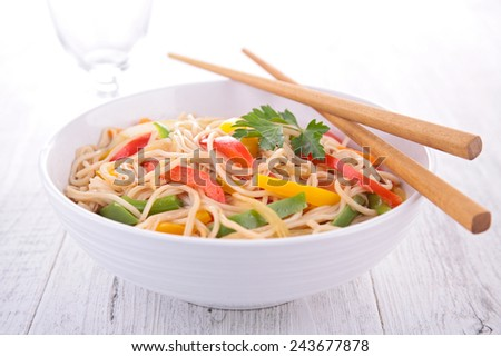 fried chinese noodles - stock photo