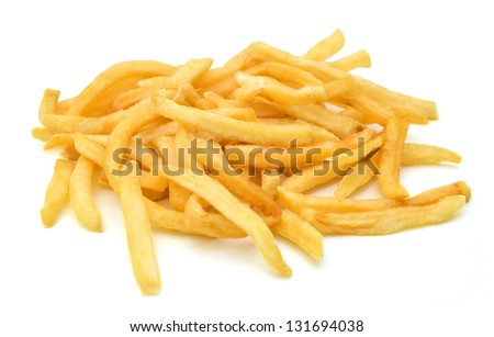 fried chips isolated on a white background - stock photo