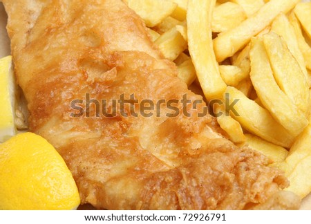 Fried cod fish & chips. - stock photo