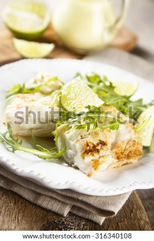 Fried cod fish with lime