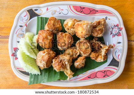 fried crab cakes with tofu - stock photo