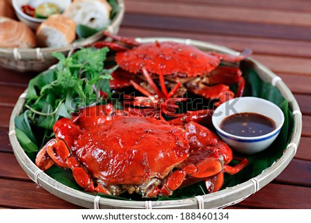 Fried crab with tamarind, typical Vietnamese cuisine - stock photo