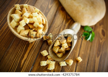 fried croutons of homemade bread - stock photo