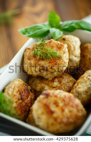 fried cutlet in ceramic form - stock photo