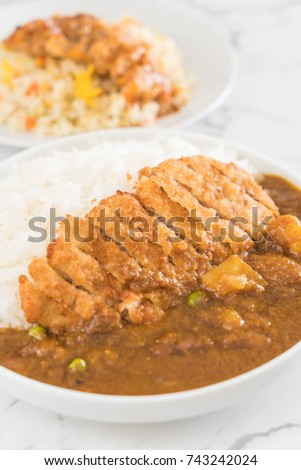 fried cutlet pork with curry on rice - japanese food style