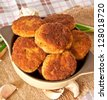 Fried cutlets in breadcrumbs - stock photo