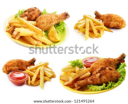 Fried drumsticks with ketchup and french fries set isolated over white - stock photo