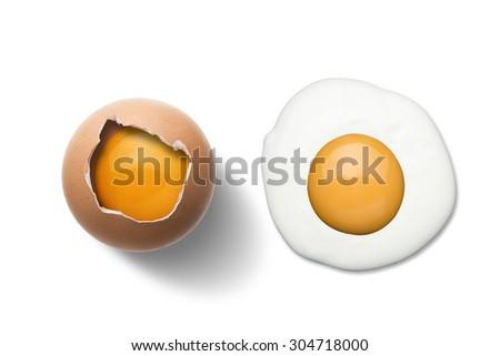 Fried Egg and Raw Egg On White Background - stock photo