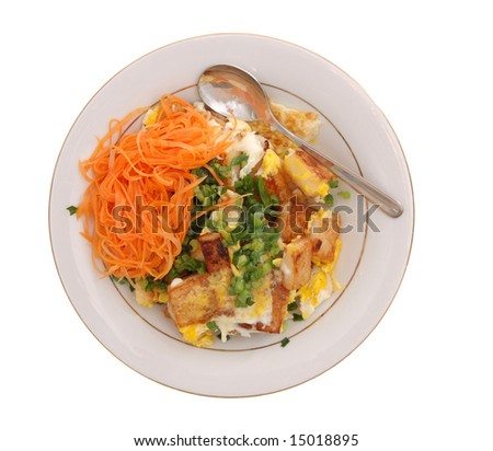 fried egg and rice cake on dish