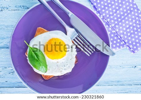 fried egg and toast - stock photo