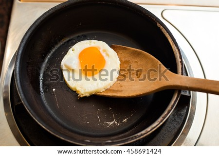 Fried egg frying pan. - stock photo