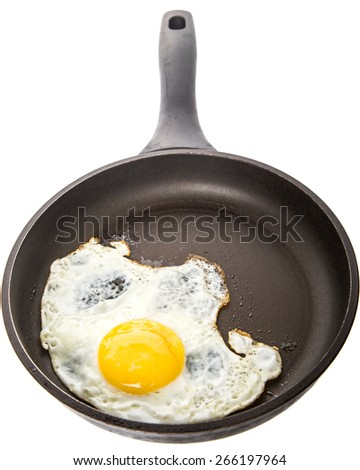 Fried egg in a frying pan over white background - stock photo