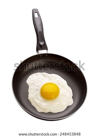 Fried Egg in a Pan isolated on white with a clipping path. The image is in full focus, front to back. - stock photo