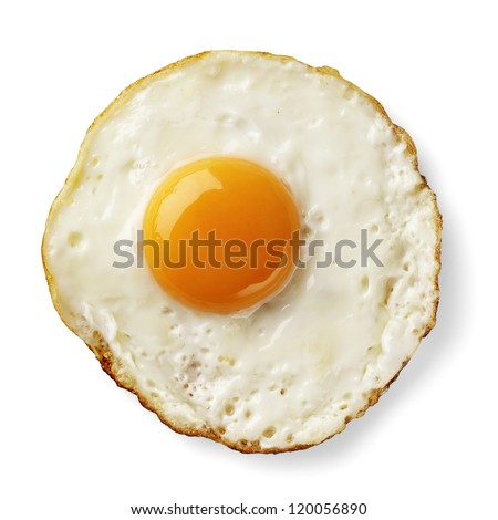 fried egg isolated - stock photo
