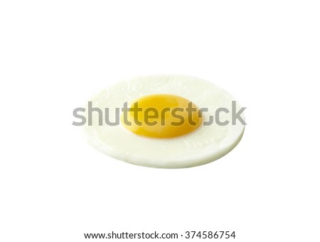 Fried egg isolated on white background. - stock photo