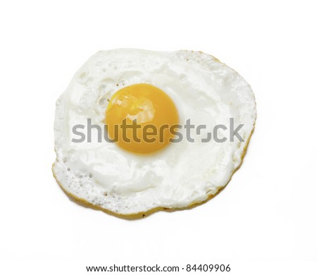 Fried egg isolated on white background.