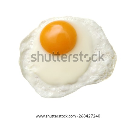 Fried egg isolated on white background.Studio shot. - stock photo