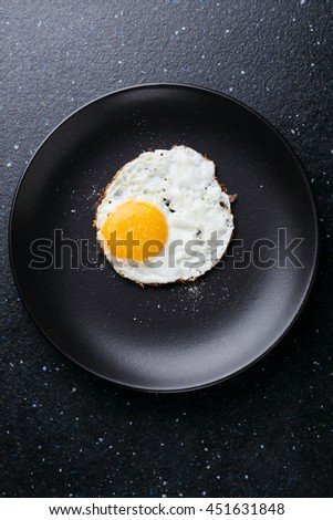 fried egg on black plate, food top view