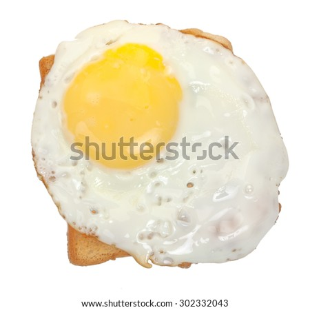 Fried egg on white toast top view.