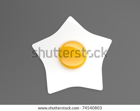 fried egg star - stock photo